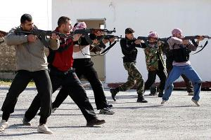 Syrian rebels in training exercises